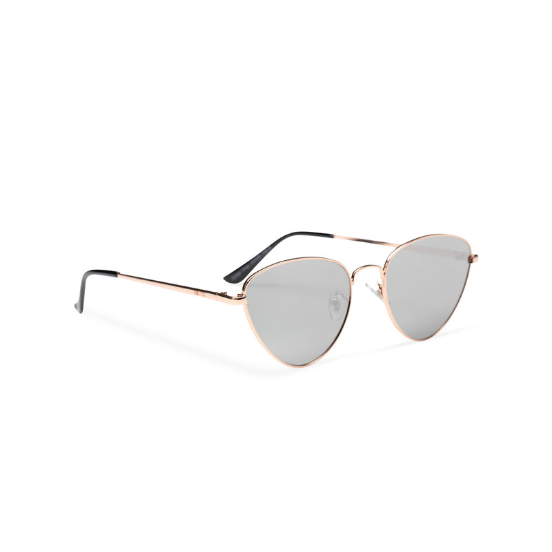gold grey metal triangle sunglasses wolf cat eye round John Lennon side