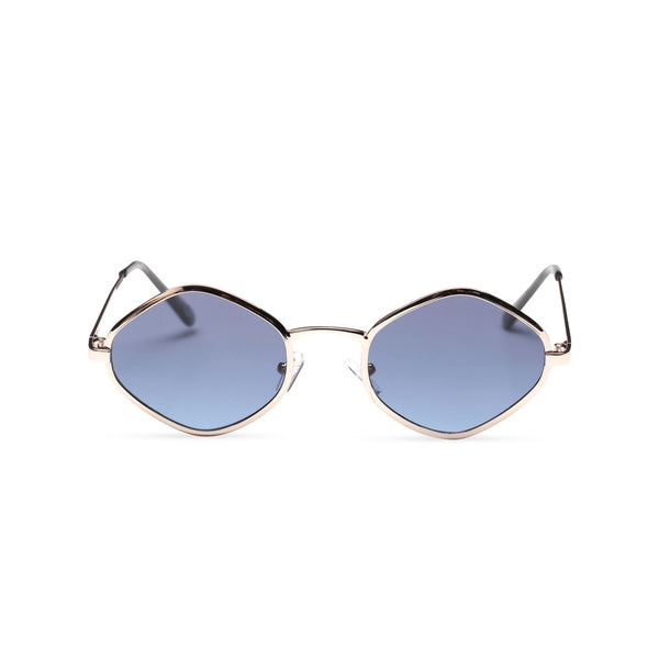 front JOSEP small blue mirror lens UV 400 Metal diamond shape metal sunglasses SOLFUL Ibiza