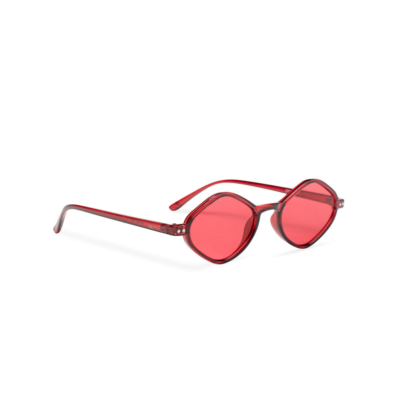 side red small diamond square sunglasses lens UV 400 transparent frame