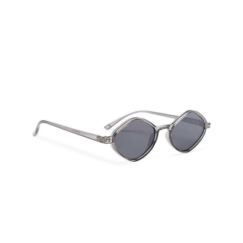 side smoky small diamond square sunglasses lens UV 400 transparent frame