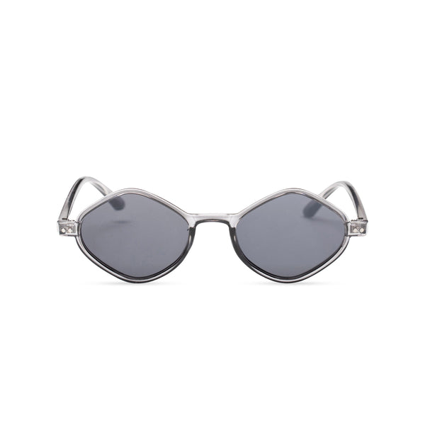 smoky small diamond square sunglasses lens UV 400 transparent frame