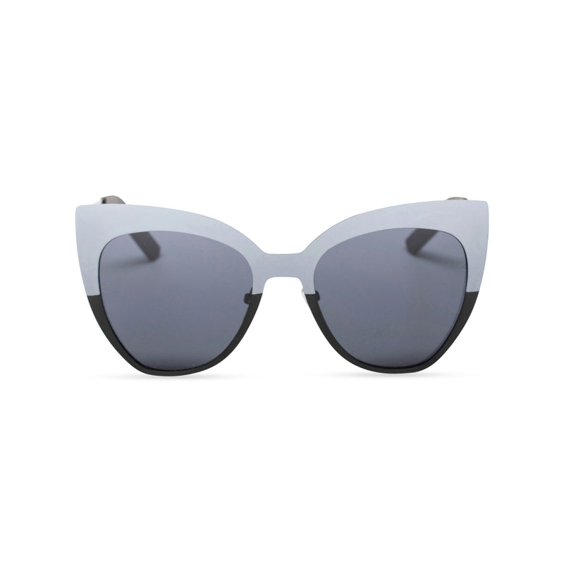 metallic cat eyes sunglasses half silver front dark lens