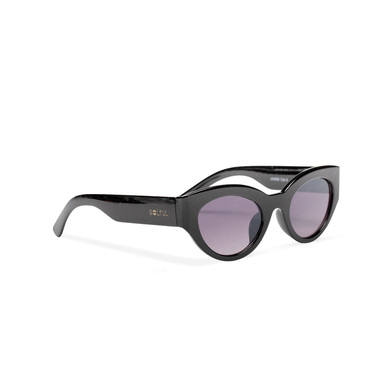 RAFAELA broad plastic stylish cut out big cat eye sunglasses Ibiza black side