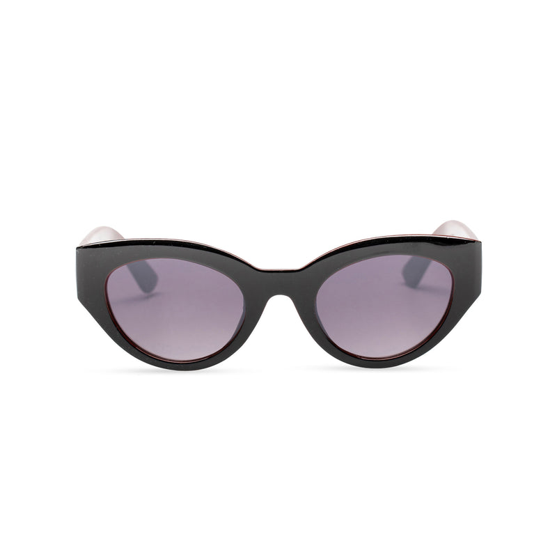 RAFAELA broad plastic stylish cut out big cat eye sunglasses Ibiza black front