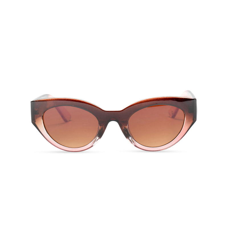 RAFAELA broad plastic stylish cut out big cat eye sunglasses Ibiza transparent brown coffee front