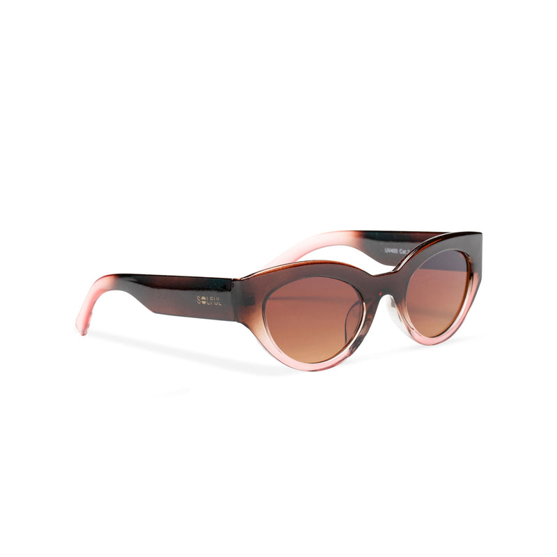 RAFAELA broad plastic stylish cut out big cat eye sunglasses Ibiza transparent brown coffee side