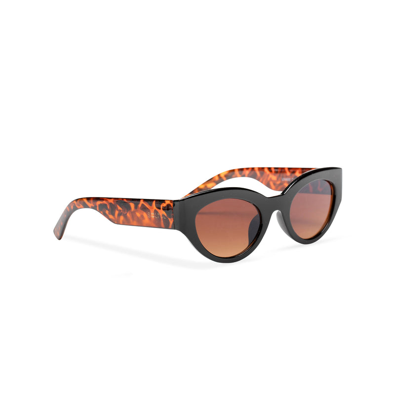 RAFAELA broad plastic stylish cut out big cat eye sunglasses Ibiza black front tortoiseshell leopard