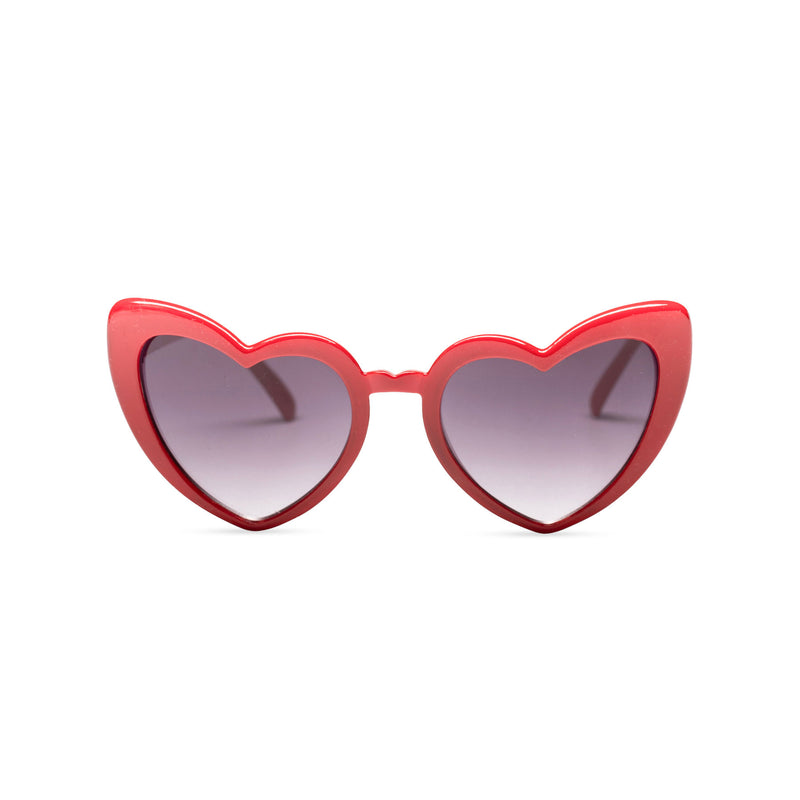 red one side big heart shape sunglasses dark lens with edge heart sunglasses