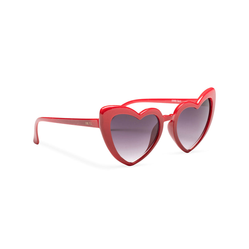 side shot red one side big heart shape sunglasses dark lens with edge heart sunglasses