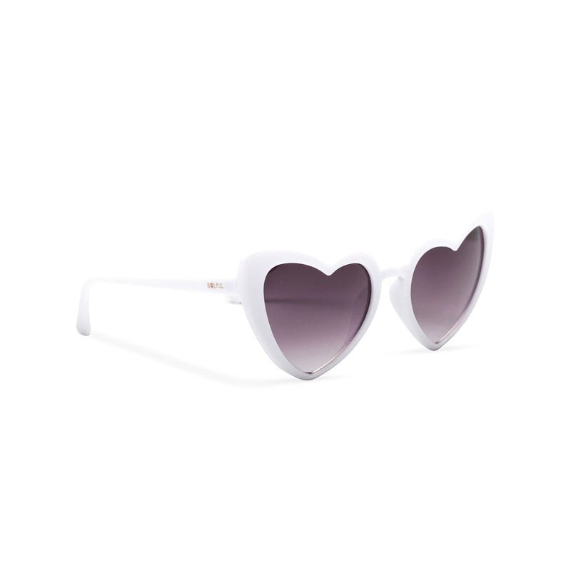 side shot white one side big heart shape sunglasses dark lens with edge heart sunglasses