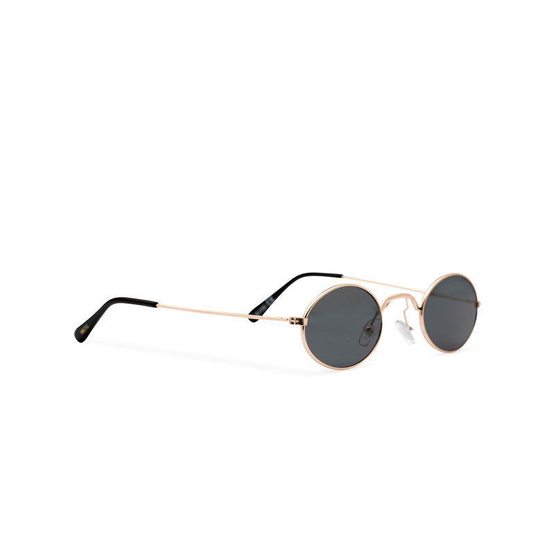 ARISTOL side shot teashade sunglasses John Lennon style gold oval metal frame with a black transparent lens