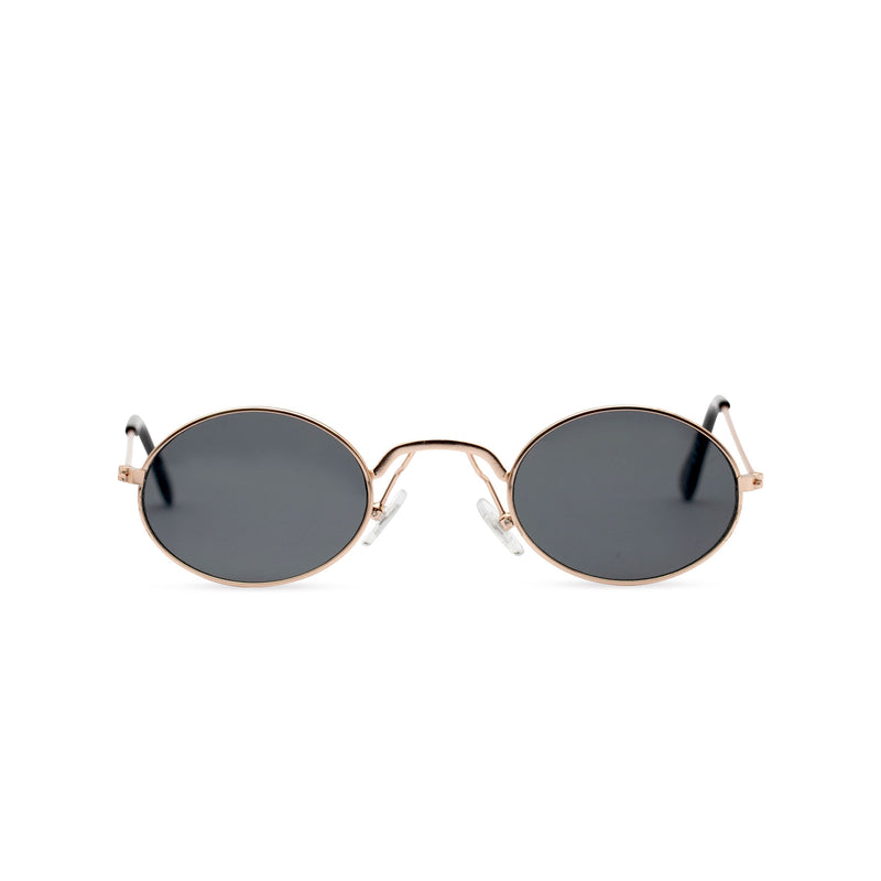 Front view of ARISTOL teashade sunglasses, small gold oval metal frame with dark lens