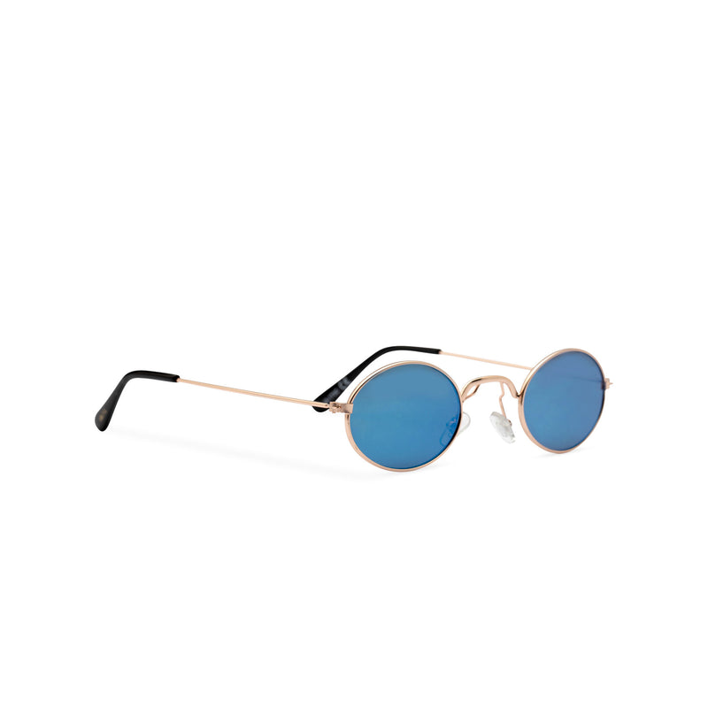ARISTOL side shot teashade sunglasses John Lennon style gold oval metal frame with a turquoise transparent lens