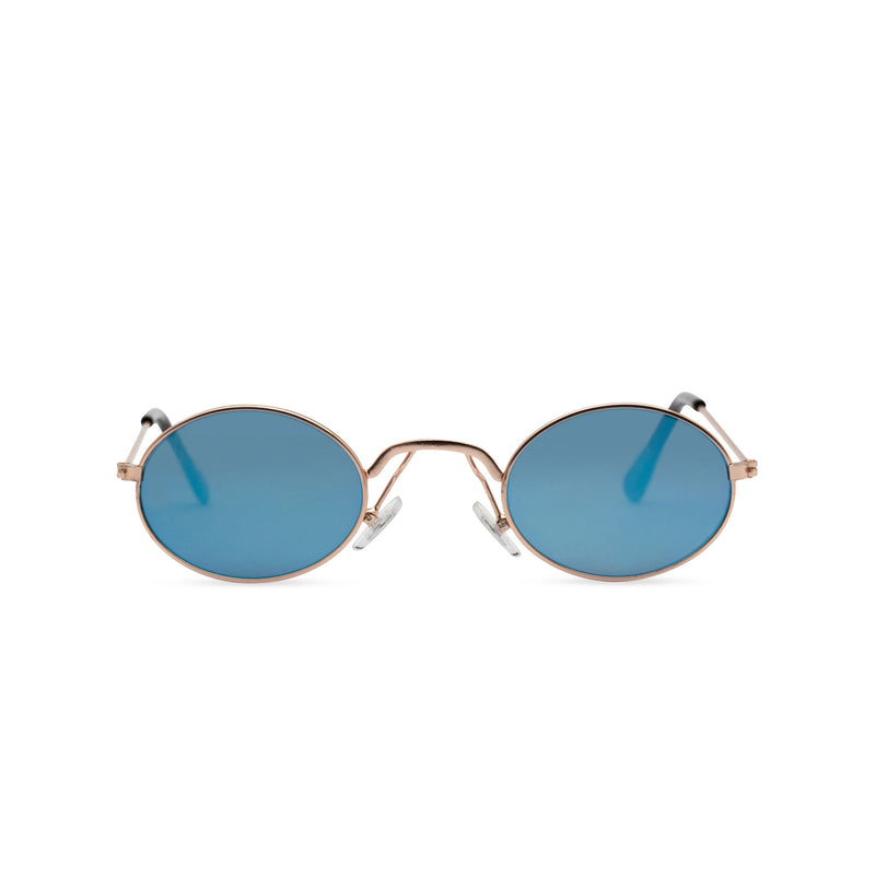 Front view of ARISTOL, teashade sunglasses, small gold oval metal frame with turquoise blue lens