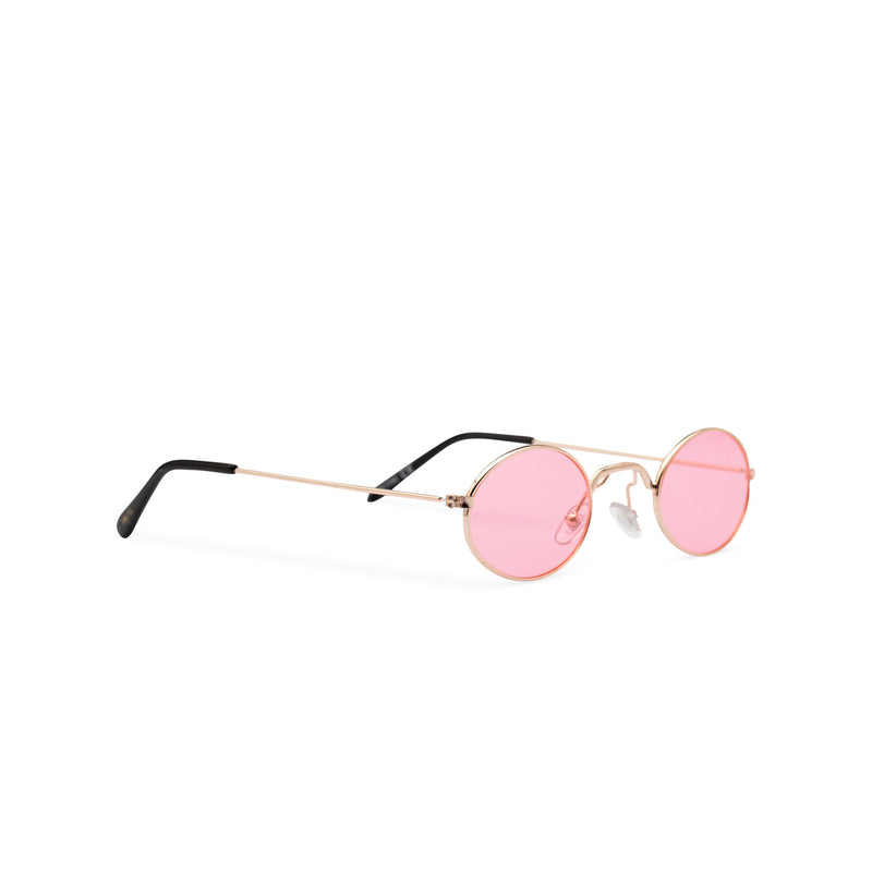 ARISTOL side shot teashade sunglasses John Lennon style gold oval metal frame with a pink transparent lens