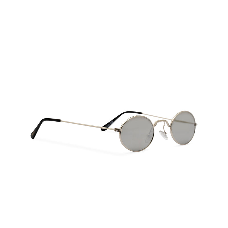 Side ARISTOL John Lennon round sunglasses, small teashade gold frame with smokey grey lens