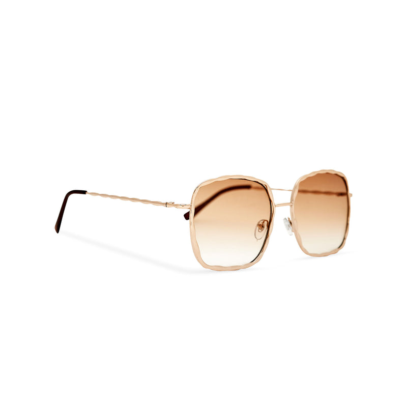 Side view of BESQUARED square embellished Ibiza sunglasses have a golden gradient lens and metal frame