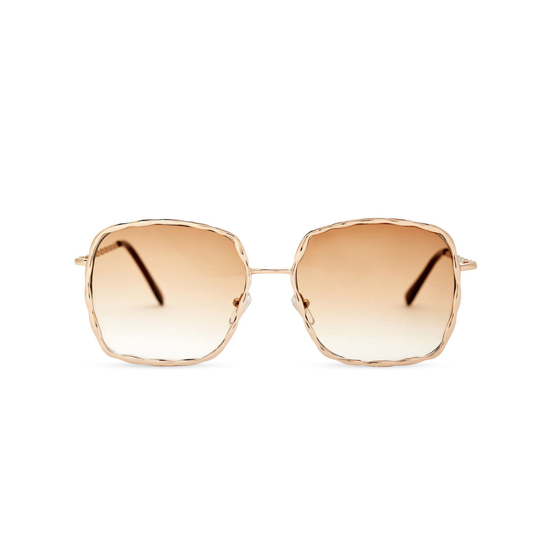 This square slightly embellished Ibiza sunglasses design called BESQUARED has golden gradient lens and metal frame