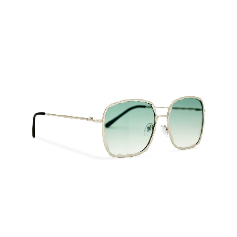 Side view of BESQUARED square embellished Ibiza sunglasses have a green gradient lens and metal frame