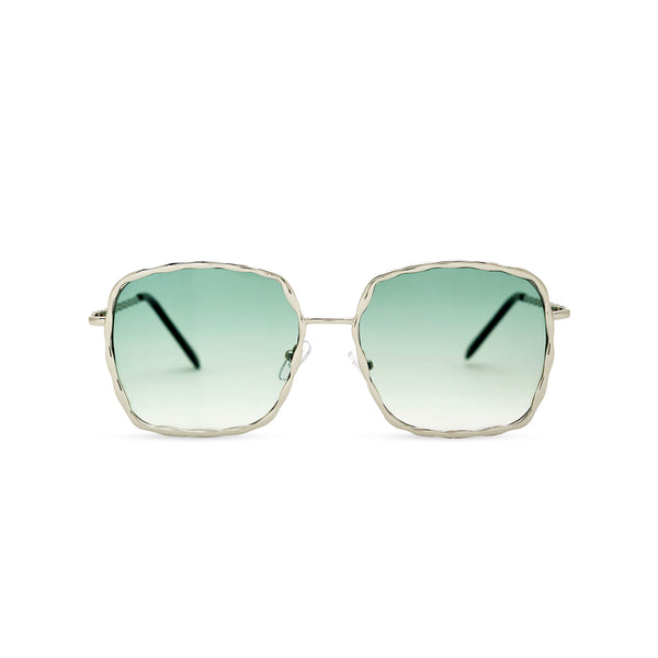 This square slightly embellished Ibiza sunglasses design called BESQUARED has green gradient lens and metal frame