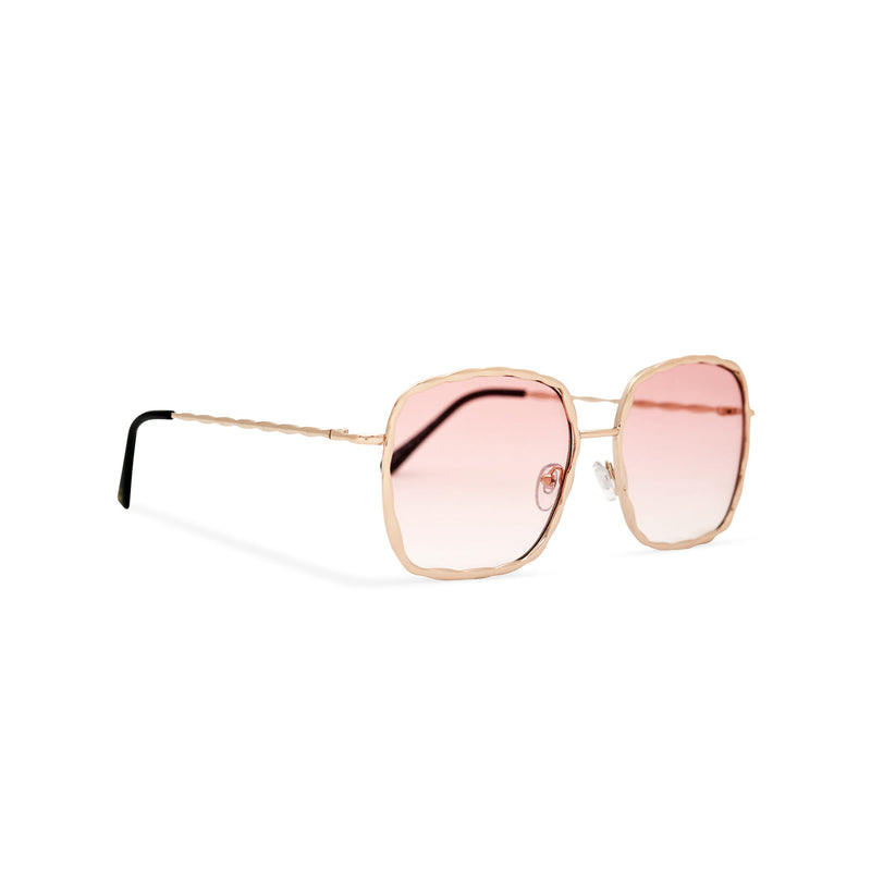 Side view of BESQUARED square embellished Ibiza sunglasses have a pink gradient lens and metal frame