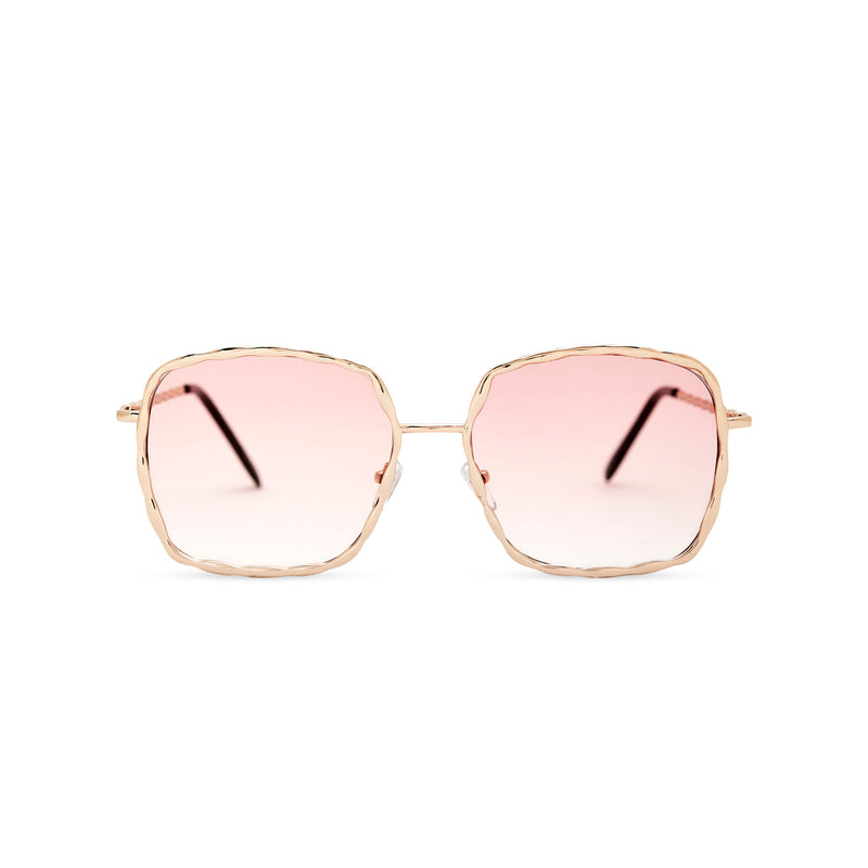 This square slightly embellished Ibiza sunglasses design called BESQUARED has pink gradient lens and metal frame