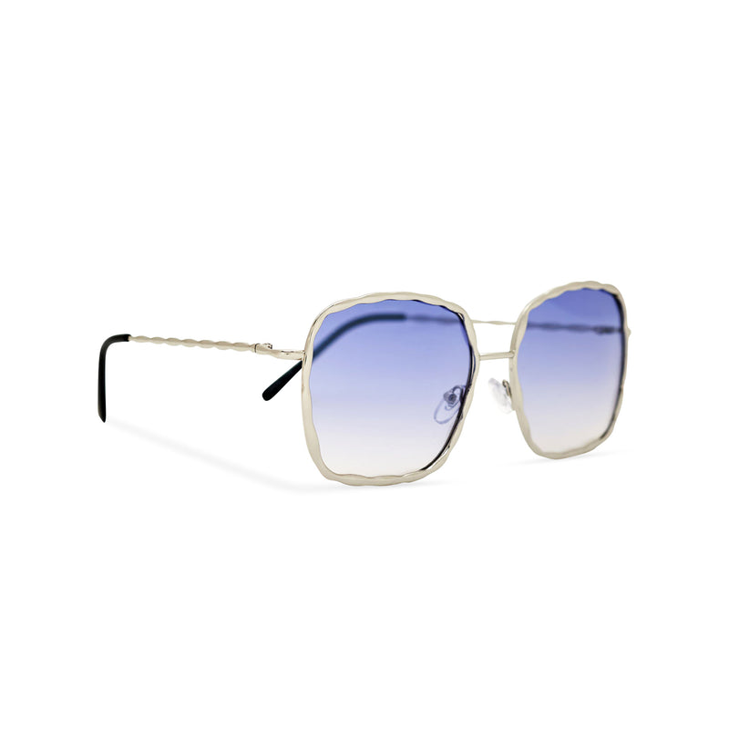 Side view of BESQUARED square embellished Ibiza sunglasses have a blue gradient lens and metal frame