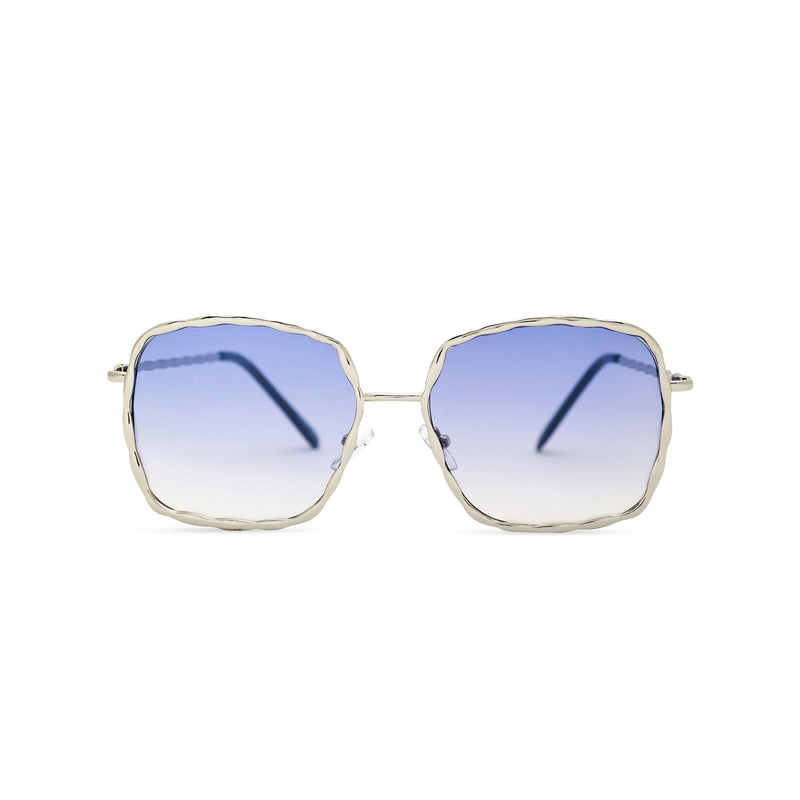 This square slightly embellished Ibiza sunglasses design called BESQUARED has blue gradient lens and metal frame