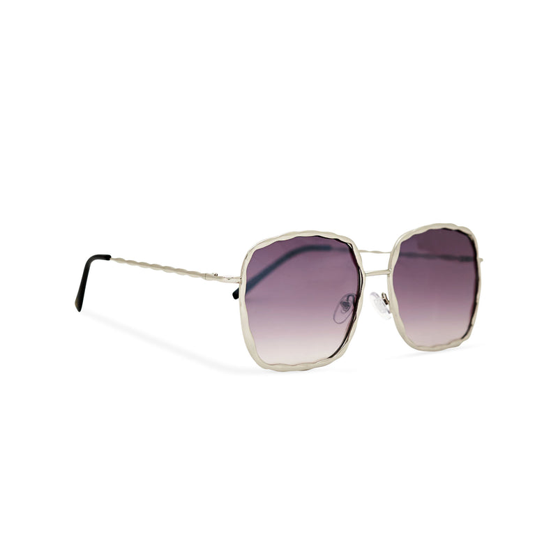 Side view of BESQUARED square embellished Ibiza sunglasses have a purple gradient lens and metal frame