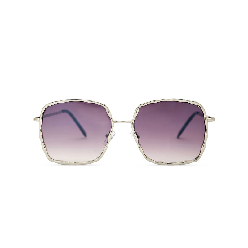 This square slightly embellished Ibiza sunglasses design called BESQUARED has purple gradient lens and metal frame