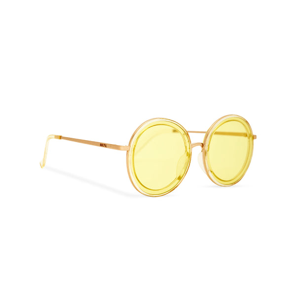 Side of view BUBBLE sunglasses by SOLFUL Ibiza, unisex big yellow round plastic design