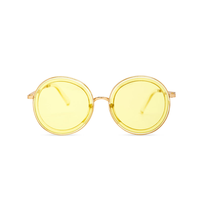 BUBBLE sunglasses by SOLFUL Ibiza, big yellow round plastic design, front view