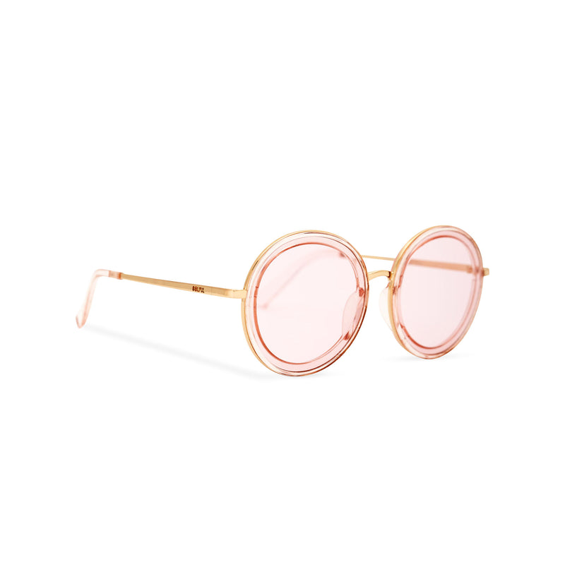 Side of view BUBBLE sunglasses by SOLFUL Ibiza, unisex big pink round plastic design