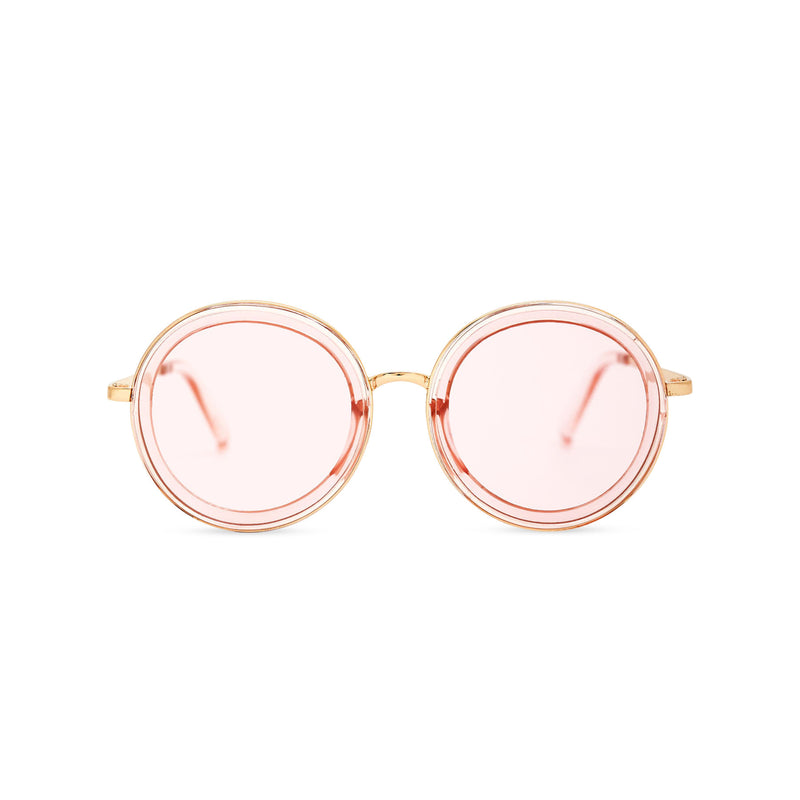 BUBBLE sunglasses by SOLFUL Ibiza, big pink round plastic design, front view