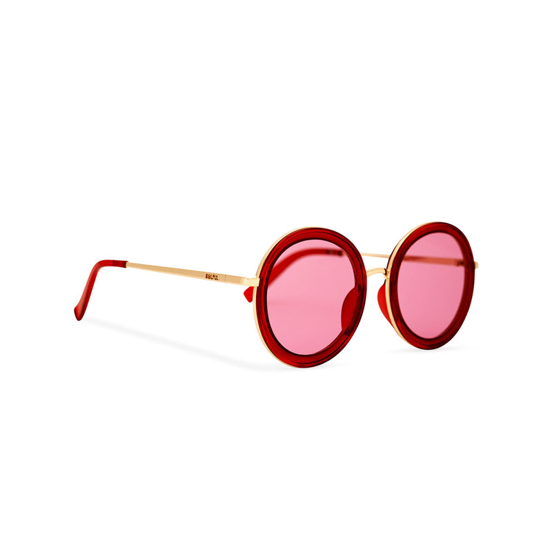 Side of view BUBBLE sunglasses by SOLFUL Ibiza, unisex big red round plastic design