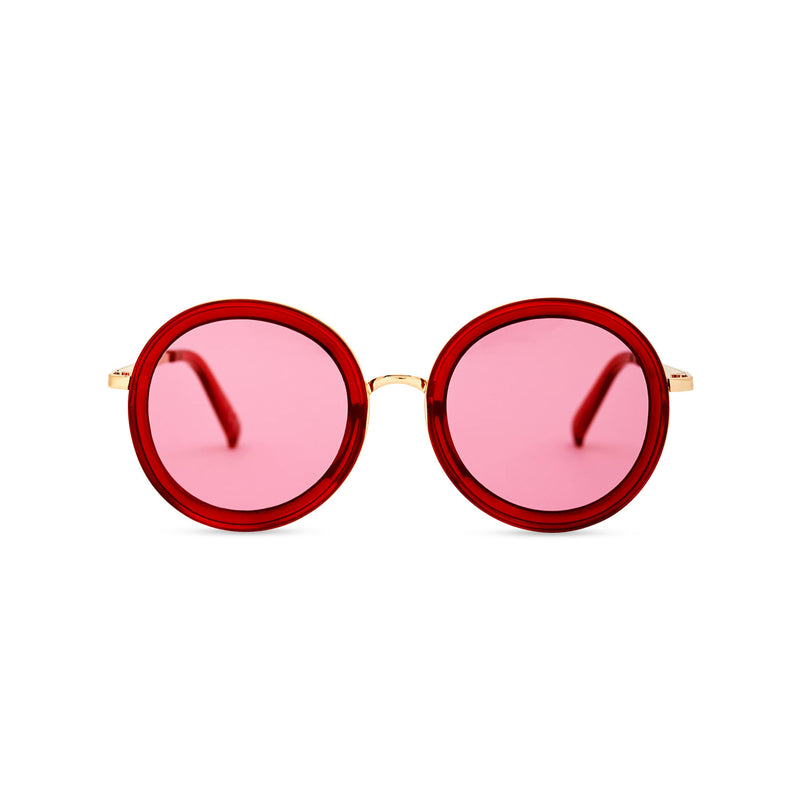 BUBBLE sunglasses by SOLFUL Ibiza, big red round plastic design, front view