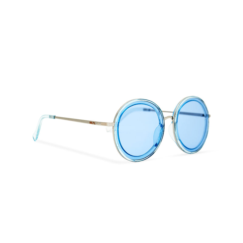 Side of view BUBBLE sunglasses by SOLFUL Ibiza, unisex big blue round plastic design