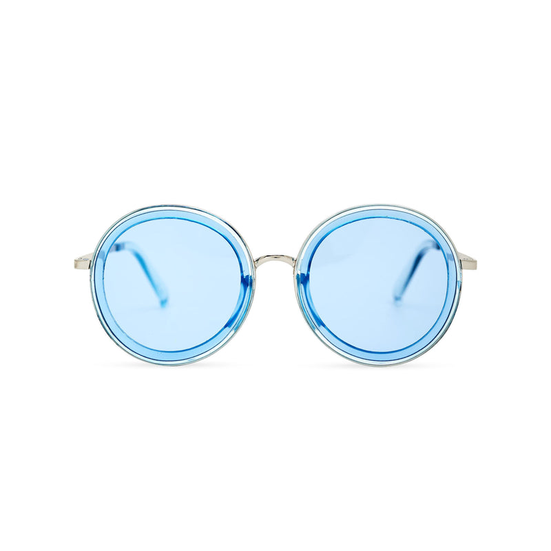 BUBBLE sunglasses by SOLFUL Ibiza, big blue round plastic design, front view
