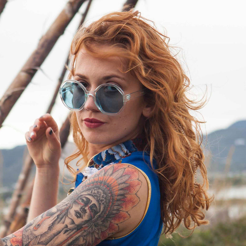 redhead ibiza woman wear blue octagon sunglasses DIAMANTE plastic clear frame brand SOLFUL Ibiza