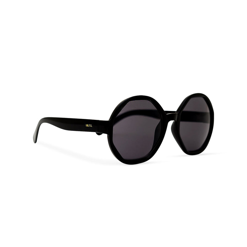 Side of DIAMANTE black round-octagon shape lens sunglasses by SOLFUL Ibiza