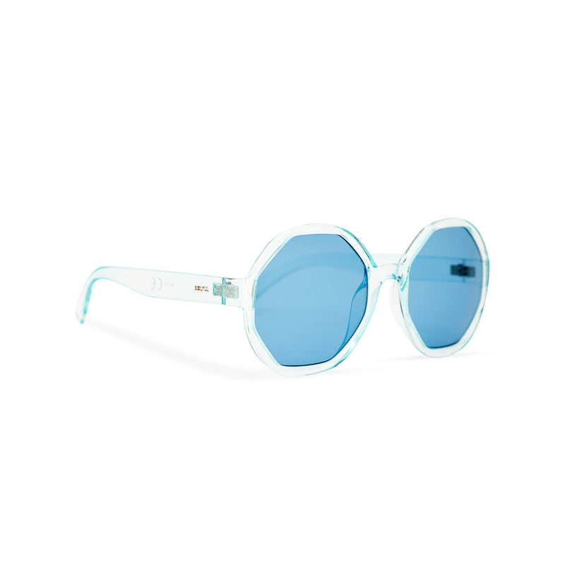Side of DIAMANTE blue round-octagon shape lens sunglasses by SOLFUL Ibiza
