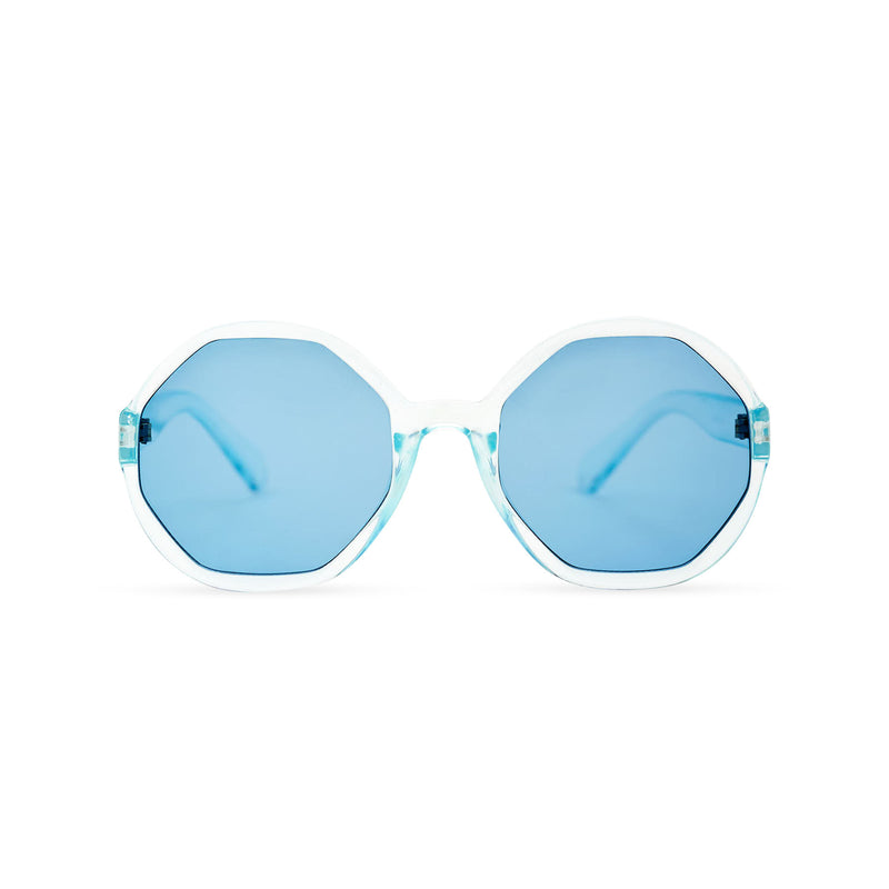 Front of DIAMANTE blue round-octagon shape lens sunglasses by SOLFUL Ibiza