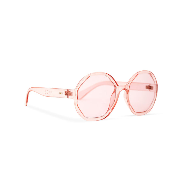 Side of DIAMANTE pink round-octagon shape sunglasses by SOLFUL Ibiza