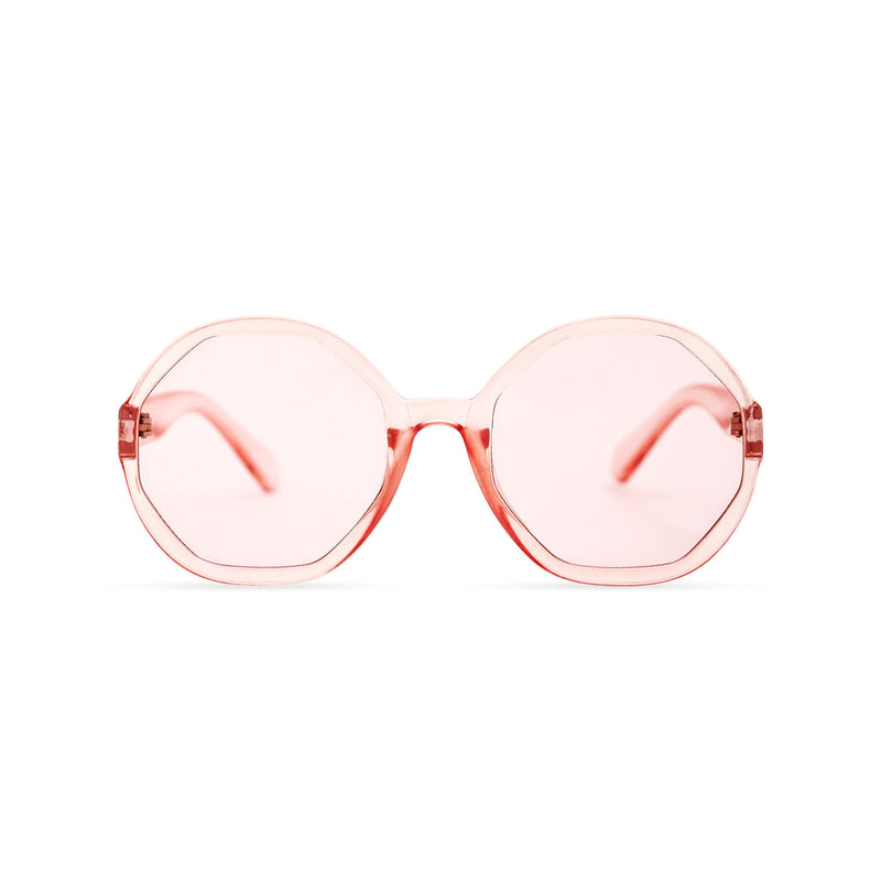 Front of DIAMANTE pink round-octagon shape lens sunglasses by SOLFUL Ibiza