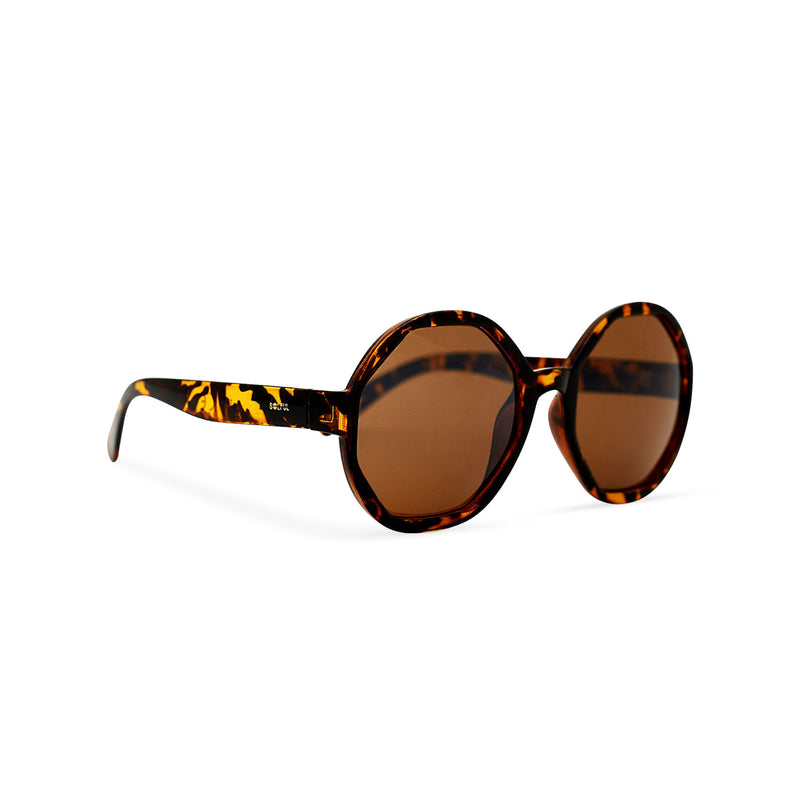 Side of DIAMANTE havana leopard round-octagon shape lens sunglasses by SOLFUL Ibiza