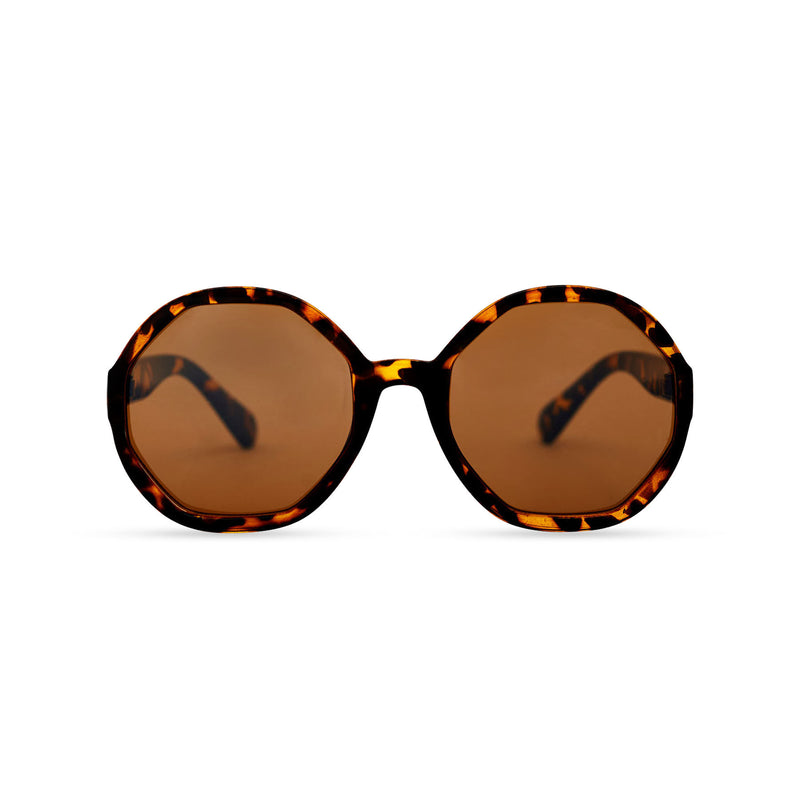 Front of DIAMANTE havana leopard round-octagon shape lens sunglasses by SOLFUL Ibiza