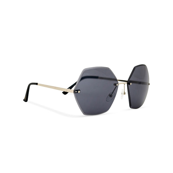 Octagonal black rimless oversize sunglasses ESTRELLA side