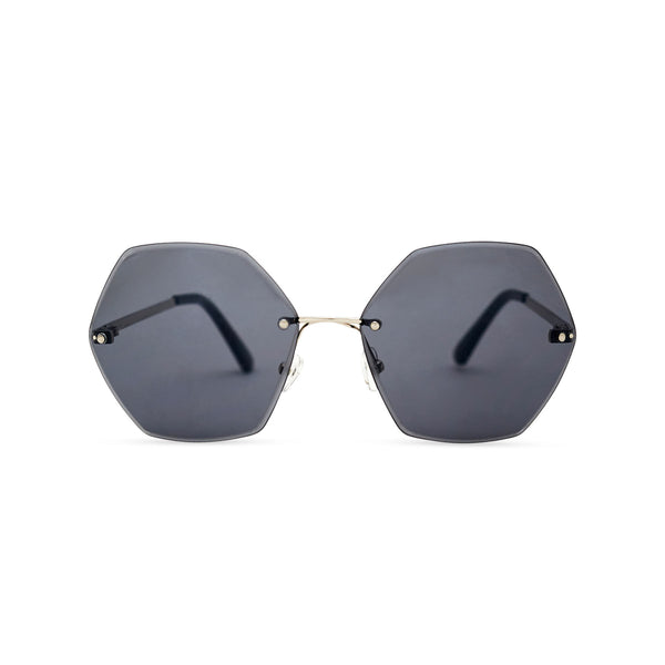 Octagonal black rimless oversize sunglasses ESTRELLA model by SOLFUL Ibiza