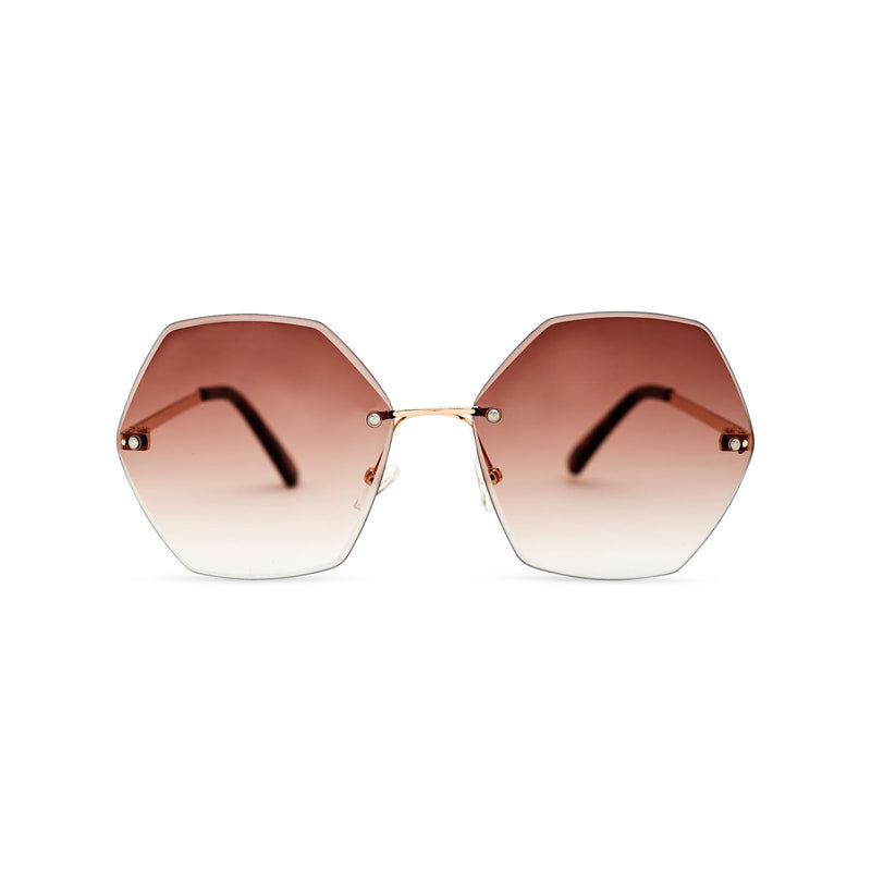 Octagonal gold brown rimless oversize sunglasses ESTRELLA model by SOLFUL Ibiza
