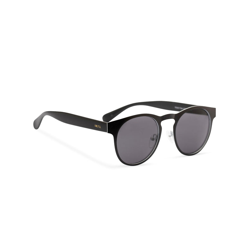 Side view of black sunglasses GAL Ibiza style thin metal frame and white inner